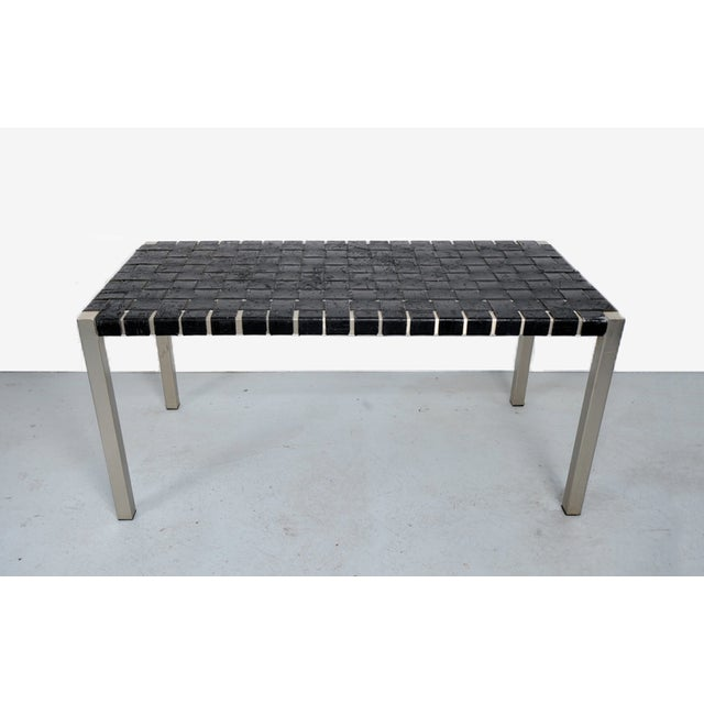 Image of Woven Leather Bench