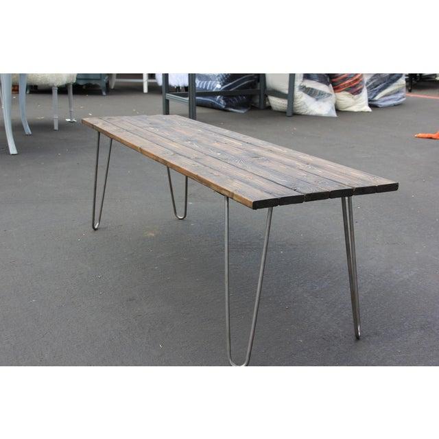 Reclaimed Wood Coffee Table Legs: Mid-Century Reclaimed Wood & Hairpin Legs Coffee Table