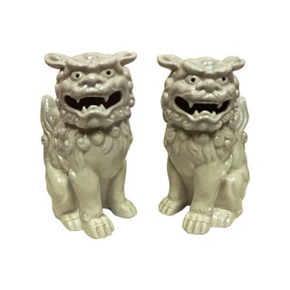 Reticulated Porcelain Foo Dogs - A Pair
