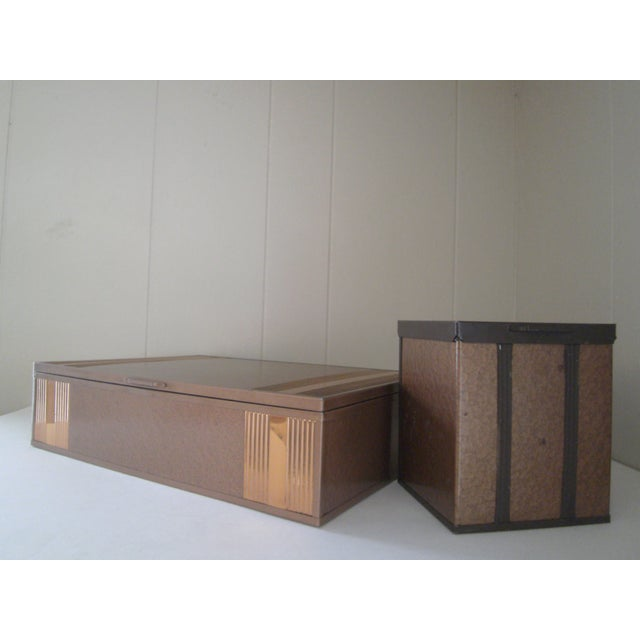 1940s Copper Enameled Metal on Wood Boxes - A Pair - Image 3 of 11