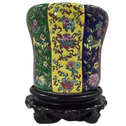 Chinese Famille Porcelain Lidded Jar on Stand