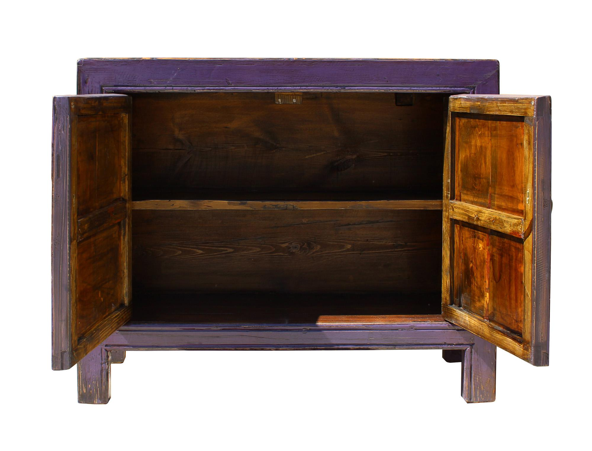 Oriental Simple Purple Credenza Sideboard Buffet Table Cabinet   Image 7 Of  8
