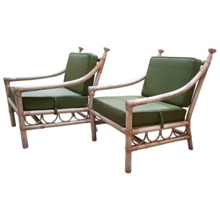 Rattan Lounge Chairs, Tommi Parzinger Style - Pair