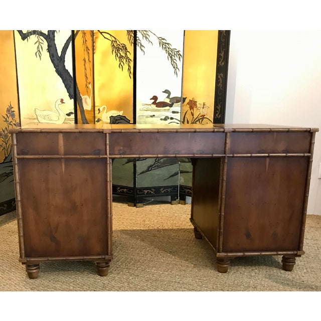 Henredon Faux Bamboo Trimmed Desk with Leather Inlaid Top - Image 9 of 10