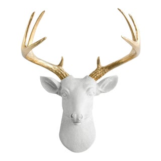 White & Gold Faux Deer Head Wall Bust