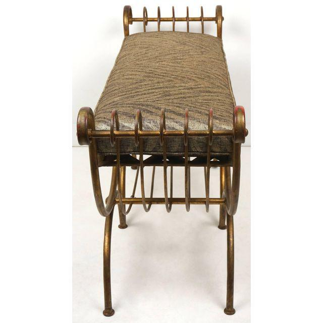 Hollywood Regency Style Gold Gilt Metal Tiger Pattern Fabric Cushion Bench - Image 3 of 10