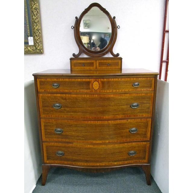Image of Vintage Inlaid Mahogany Gentleman's Chest & Mirror