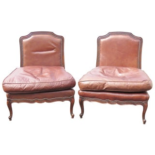 Old Hickory Brown Leather Slipper Chairs - A Pair