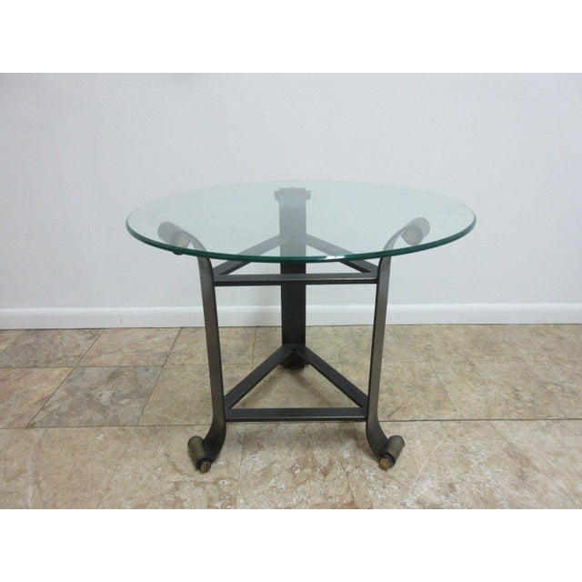 glass top wrought iron end table chairish. Black Bedroom Furniture Sets. Home Design Ideas