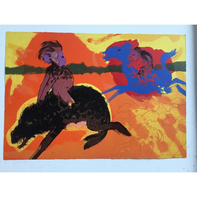 "Image of Robert Beauchamp Original Lithograph "" Riders"""