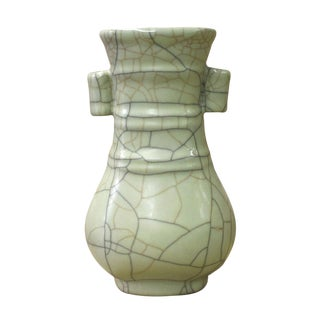Chinese Ru Ware Celadon Green Ceramic Color Vase cs2603