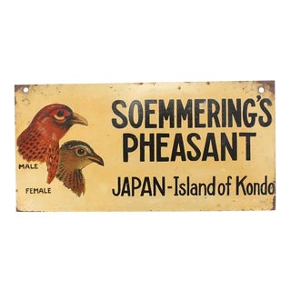 """1930s Hand-Painted Sign of """"Soemmering's Pheasant"""""""