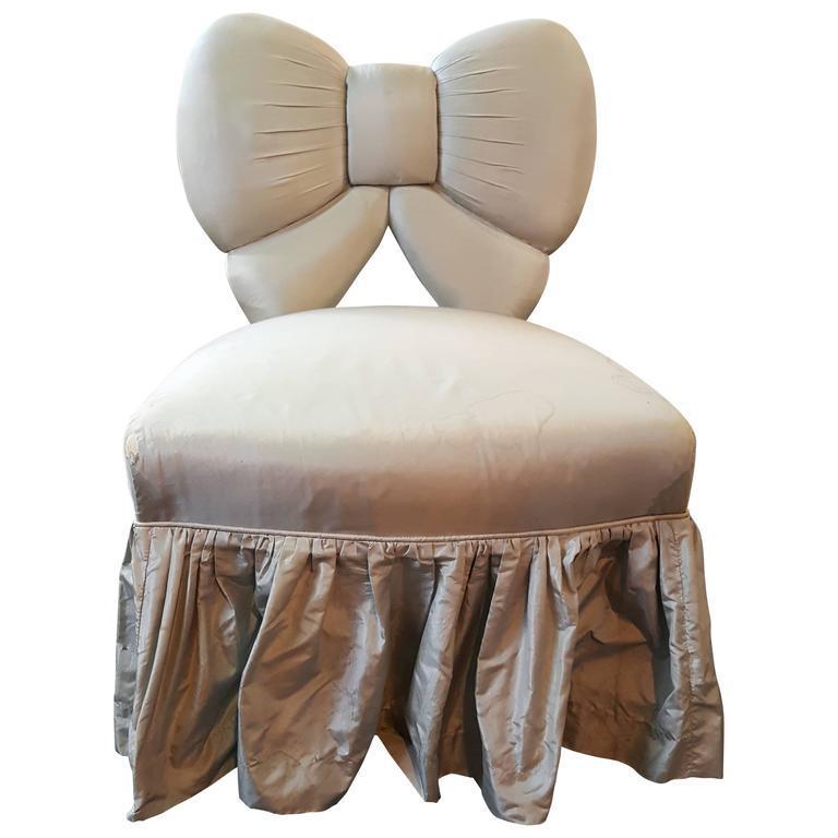 Bow Backrest Upholstered Slipper Or Vanity Chair Chairish