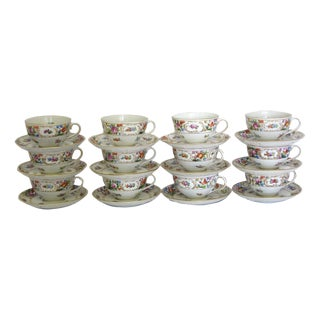 Dresden Saxony Cups & Saucers - Set of 12