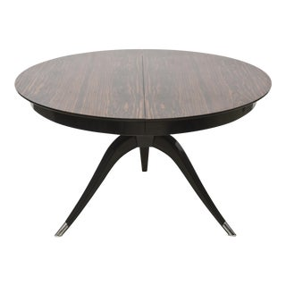French Late Art Deco Ebony De Macassar Extention Dining Table, Style of Ruhlman