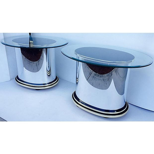 Mid-Century Glass & Steel Side Tables - A Pair - Image 3 of 4