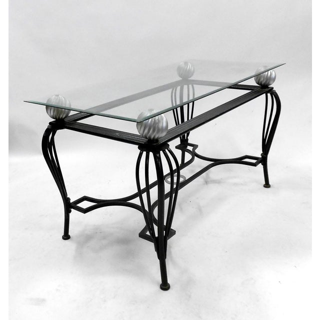 Image of Mid-Century Metal & Glass Dining Table