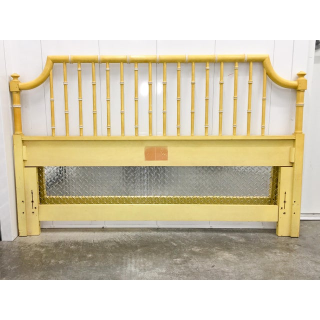 Image of Vintage Hollywood Regency Faux Bamboo Queen Bedframe