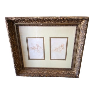 Two Antique Sepia Drawings in a Gilt Frame