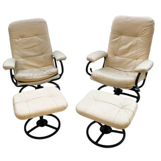 Pair Ekornes Reclining Chairs & Ottomans