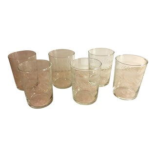 Mid-Century Etched Glass Juice Glasses - Set of 6