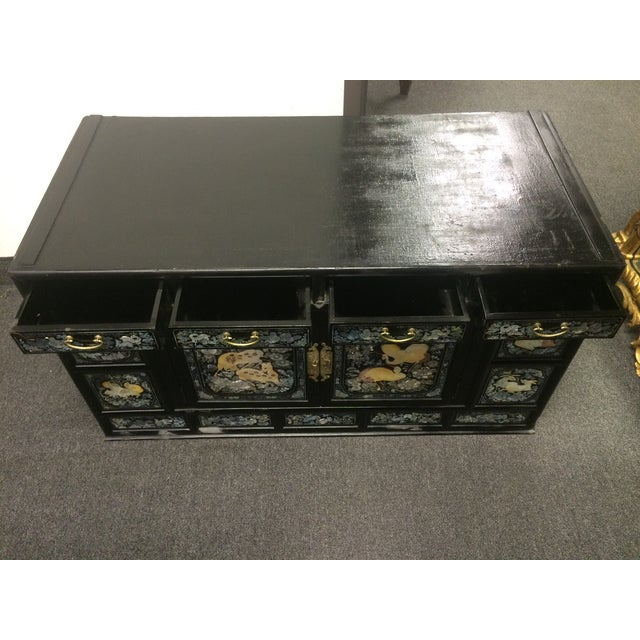 Asian Black Lacquer Mother of Pearl Inlay Chest - Image 4 of 7