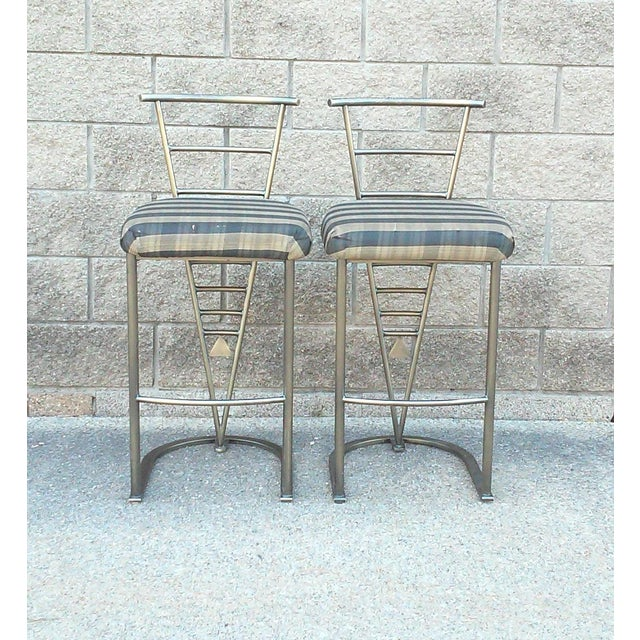 Milo Baughman Bar Stools -- A Pair - Image 4 of 10