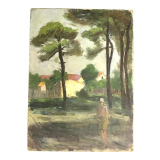 French Vintage Landscape With Woman
