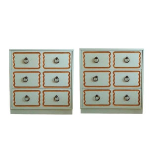 Henredon Turquoise & Gold Espana Nightstands - A Pair