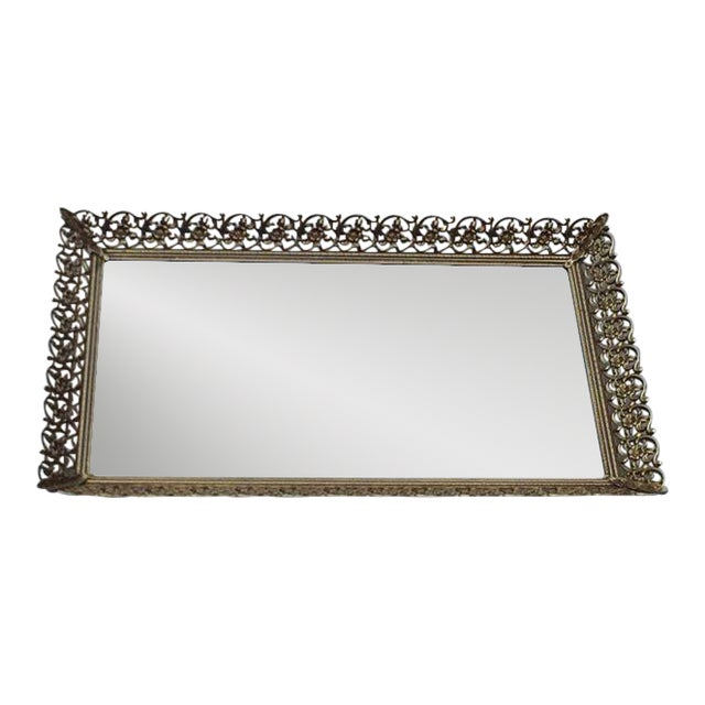 Rectangular Filigree Detail Vanity Mirrored Tray - Image 1 of 5
