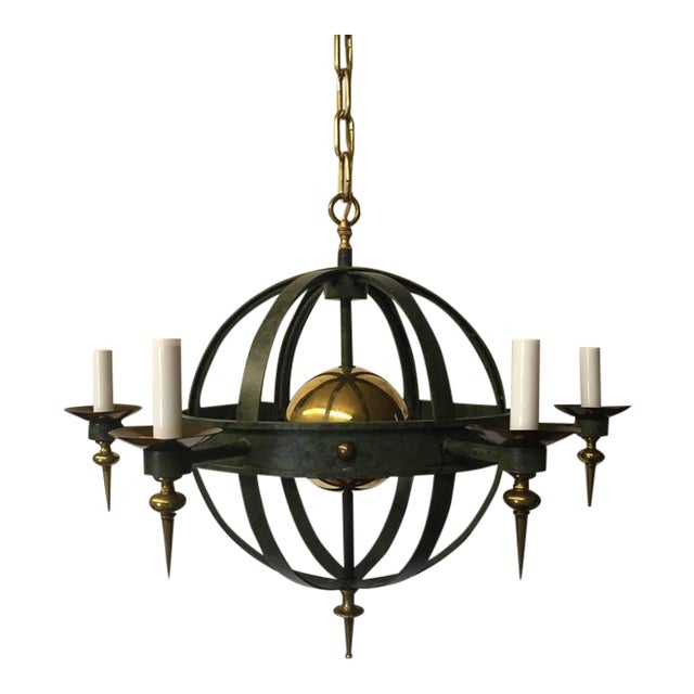 Vintage Spherical Iron and Brass Sputnik Chandelier - Image 1 of 4