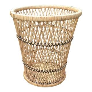 Vintage Rattan Woven Wastebasket