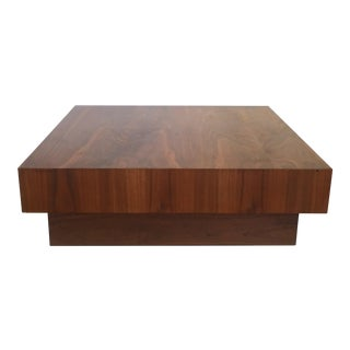 Mid-Century Walnut Cube Platform Coffee Table