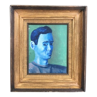 "Ray Schultz ""Portrait of a Man"" Painting on Canvas"