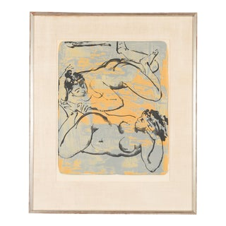Framed Original Reclining Women Lithograph