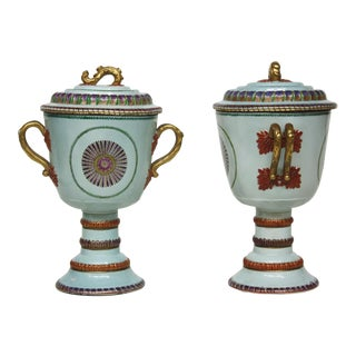 Chinese Export Lidded Urn-Form Jars