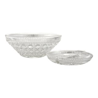 Vintage Sparkling Faceted Glass Bowl & Tray - 2 Pc.