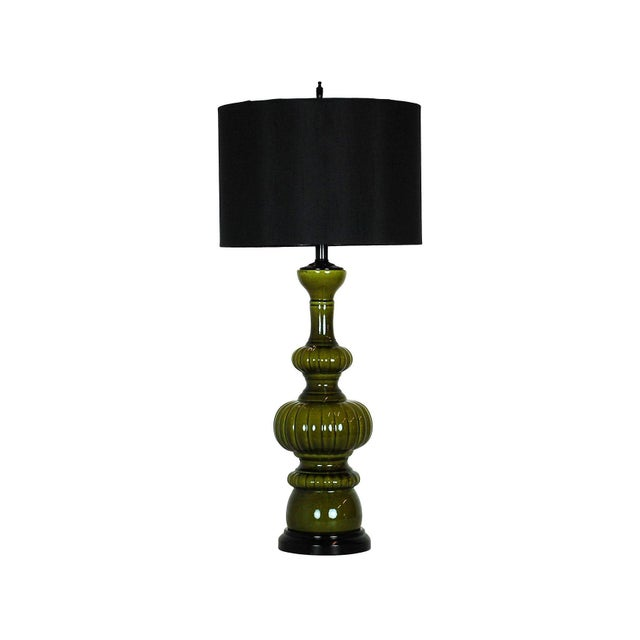 Mid-Century Modern Green Pottery Lamp - Image 1 of 4