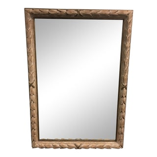 Distressed Hand-Carved Wood Framed Mirror