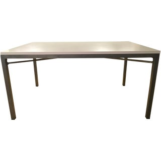 Crate & Barrel White Top/Zinc X-Base Dining Table