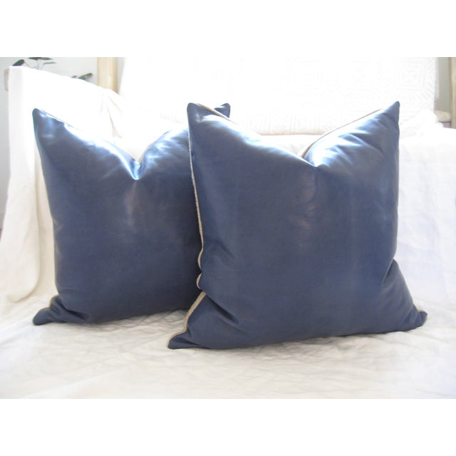 Atlantic Blue Leather Pillows - A Pair - Image 2 of 7