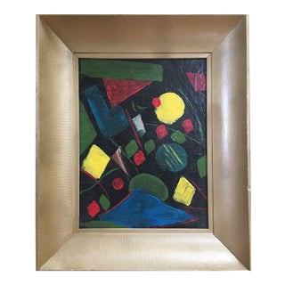 Vintage Mid-Century Abstract Russian Avant Garde Geometric Oil Painting - 1950s