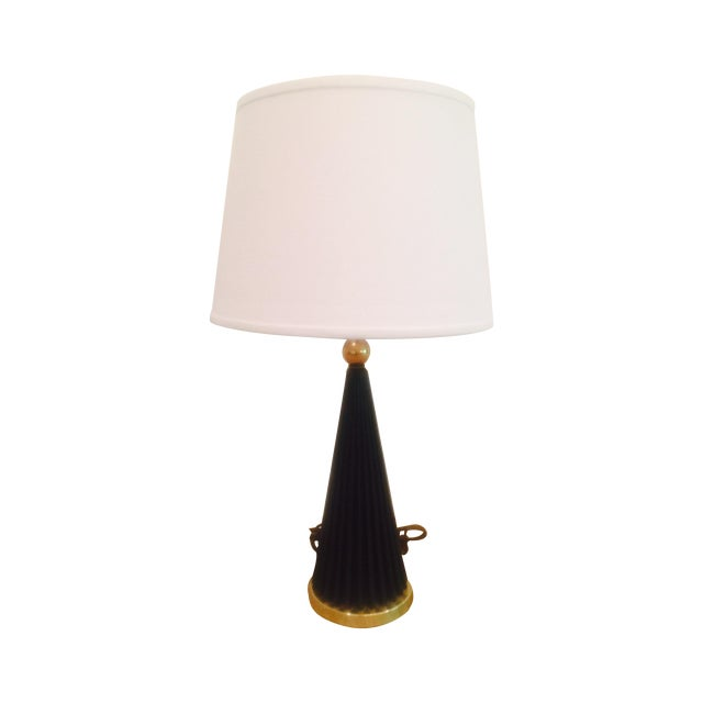 Atomic Black & Brass Metal Pleated Skirt Lamp - Image 1 of 5