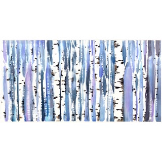 Blue Birch Tree Painting