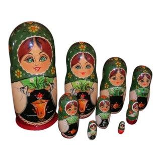 Large Vintage Russian Nesting Dolls - Set of 9