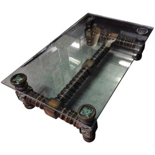 Vintage Dark Wood Spindle Leg Glass Coffee Table
