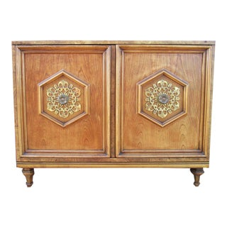 Ornate Burled Wood Hollywood Regency Dresser Cabinet By Peppler