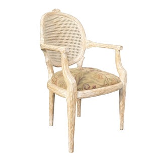 French Cane Back Carved Wood Accent Arm Chair