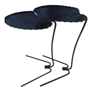 Black Metal Lily Pad Stacking/Nesting Tables- Set of 2