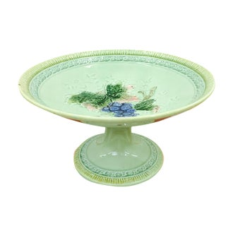 Antique Majolica Pedestal Dish